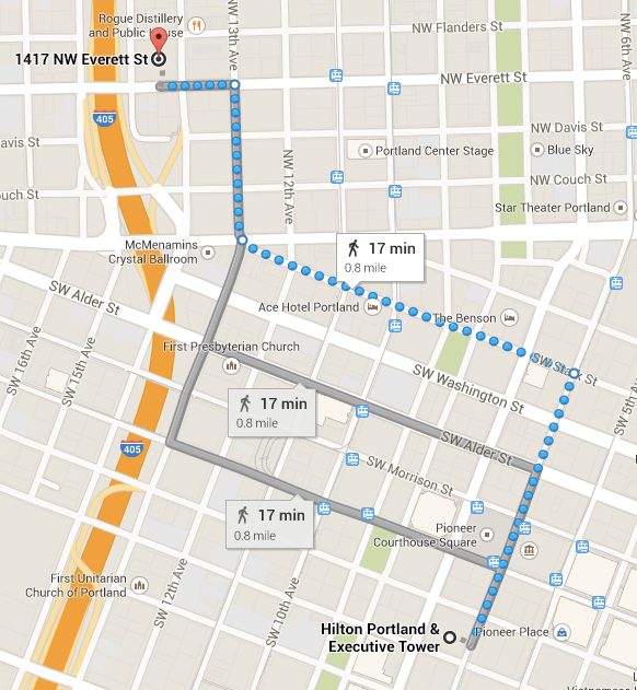 Here's a map of the route from the Hilton to Urban Airship